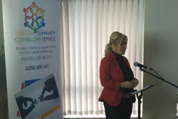 Michelle O'Neill addresses Lenadoon Counselling Service
