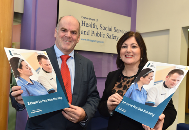 CNO Prof Charlotte McArdle and Professor Owen Barr, Head of School of Nursing, Ulster University