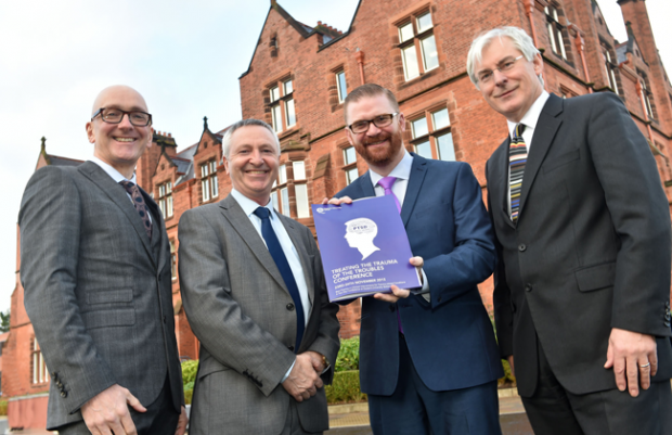 Pictured L-R are Dr Ciaran Mulholland, Queens University, Dr Michael Duffy, Queens University, Health Minister Simon Hamilton and Professor David Clark, Oxford University. Photo by Simon Graham/Harrison Photography.