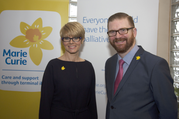 Minister Simon Hamilton and Joan McEwan pictured at Marie Curie 'Policy Hack'