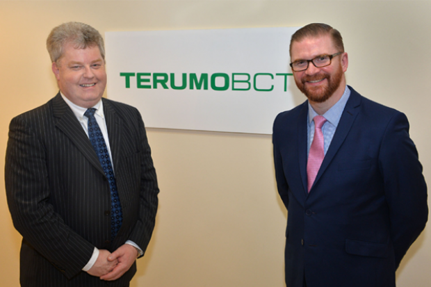 Health Minister Simon Hamilton visited the Terumo BCT medical device manufacturing facility in Larne.