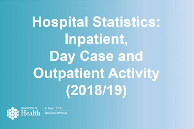 """Image with writing """"Hospital Statistics:  Inpatient,  Day Case and  Outpatient Activity  (2018/19)"""""""