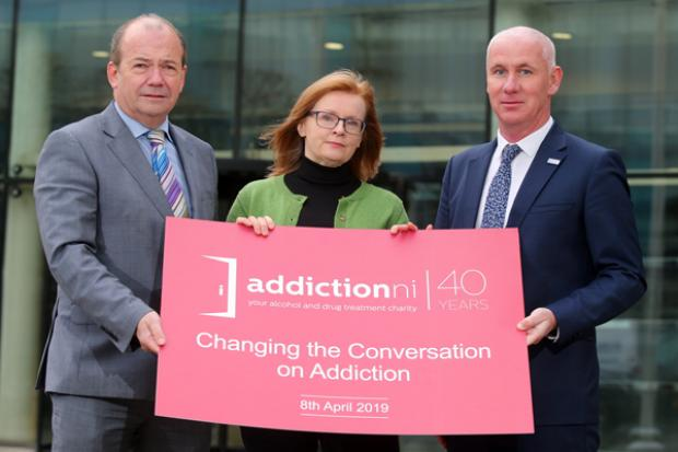 Pictured - NI Chief Medical Officer Dr Michael McBride, Penny McCanny Anyone's Child: Families for Safer Drug Control and Alex Bunting Director Addiction NI