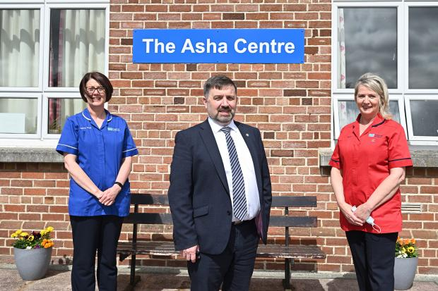 Health Minister Robin Swann with (left) Deputy Sister Kerry Mellon and (right) Sister Phyllis Fitzsimons during a visit to ASHA Centre for Addiction in Omagh.