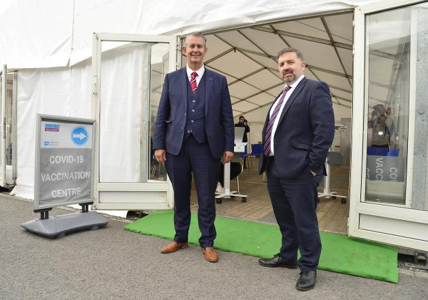 Agriculture Minister Edwin Poots and Health Minister Robin Swann visiting vaccination clinic at the Balmoral show