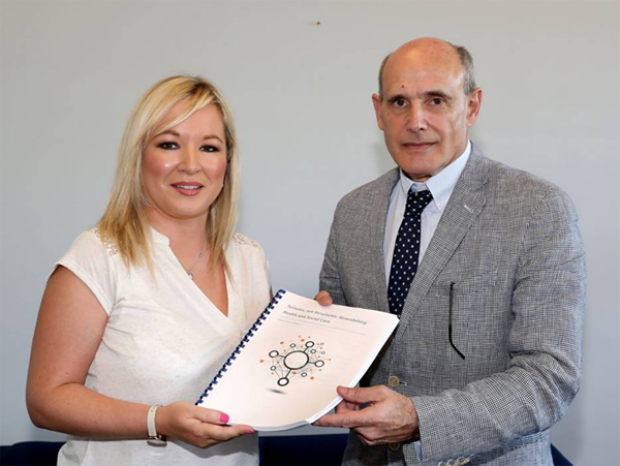 Health Minister Michelle O'Neill and Panel's Chair Professor Rafael Bengoa