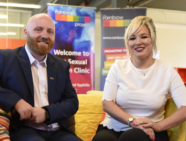 Minister Michelle O'Neill pictured with John O'Doherty, Director of the Rainbow Project after the Minister announced lifting the lifetime ban on blood donation by men who have had sex with other men