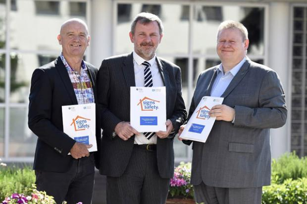 Pictured at today's launch are, left to right: Dr Andrew Turnell, Principal Architect of Signs of Safety, Richard Pengelly, Permanent Secretary, Department of Health and Sean Holland, Deputy Secretary and Chief Social Worker NI