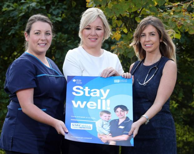 Pictured at the launch of the Stay Well campaign (L-R) Nurse Jennifer Barklie, Health Minister Michelle O'Neill and Dr Jennifer McKew